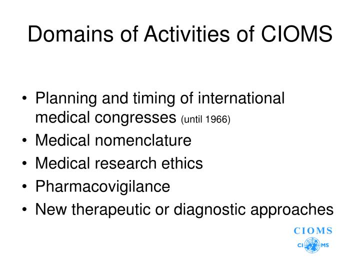 Domains of Activities of CIOMS