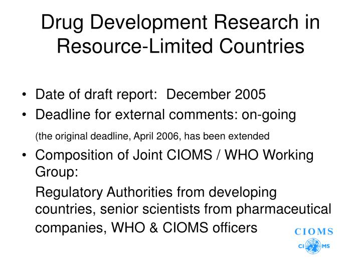 Drug Development Research in Resource-Limited Countries