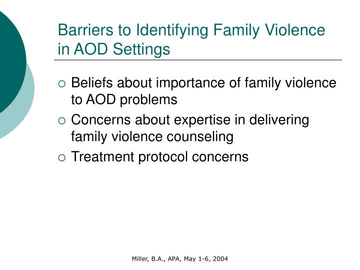 Barriers to Identifying Family Violence in AOD Settings
