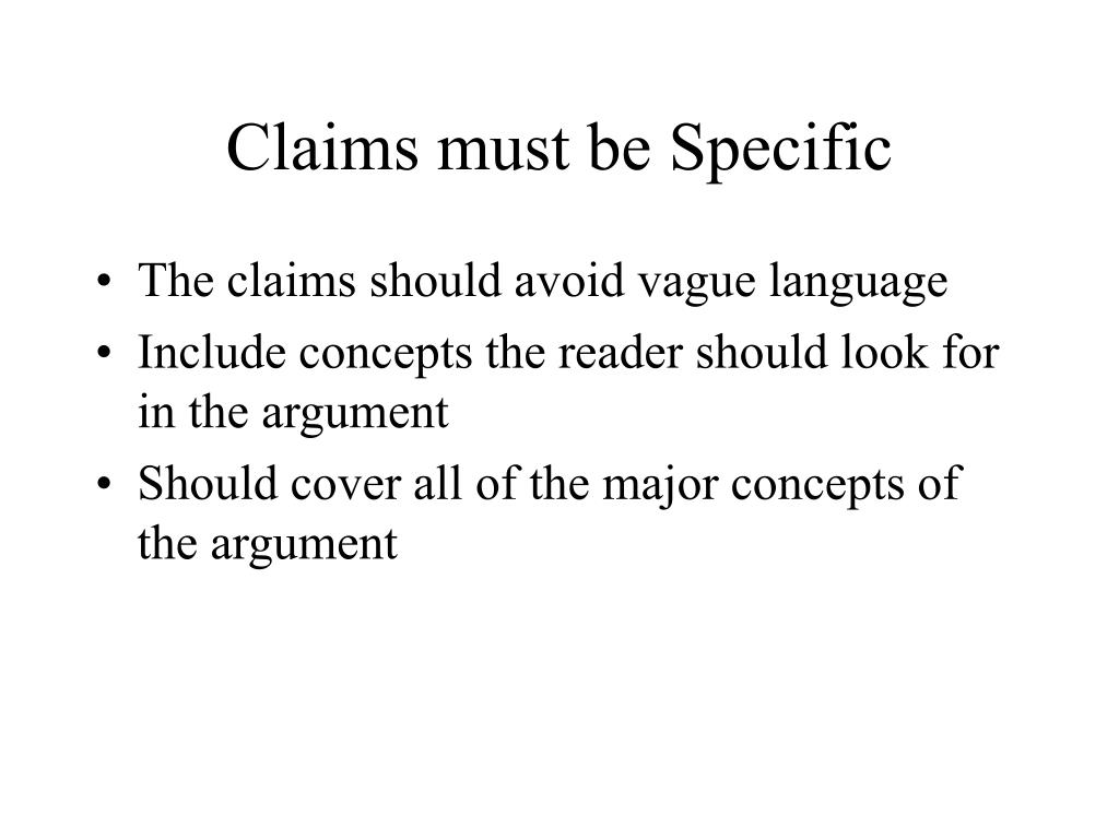 Claims must be Specific