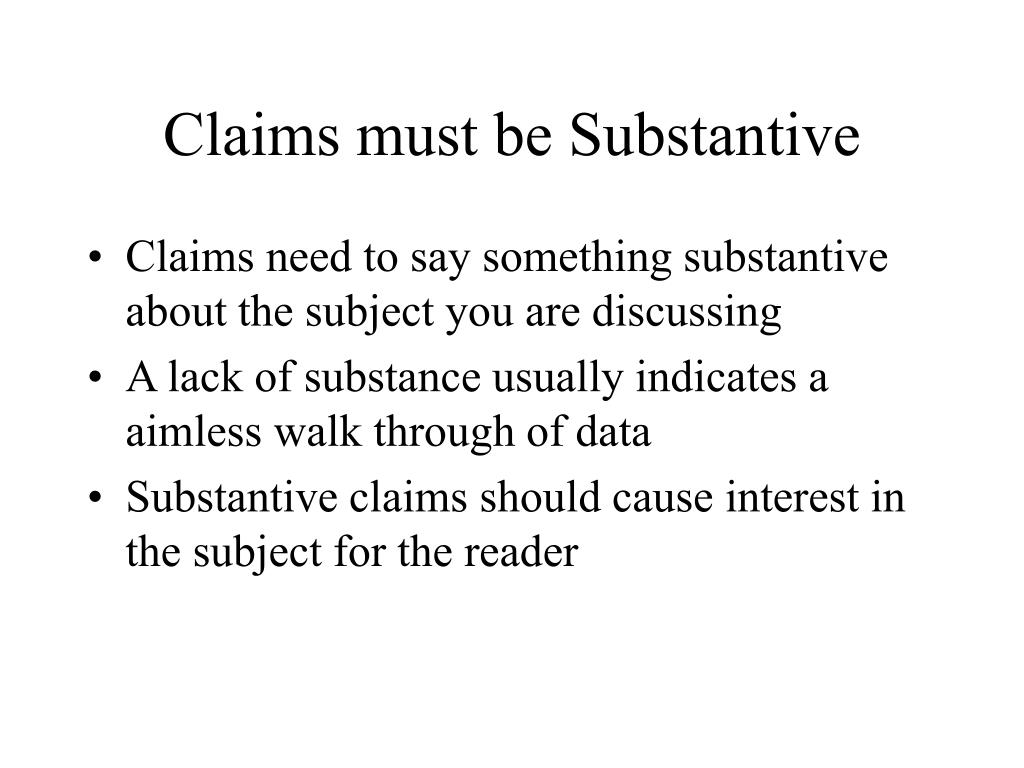 Claims must be Substantive