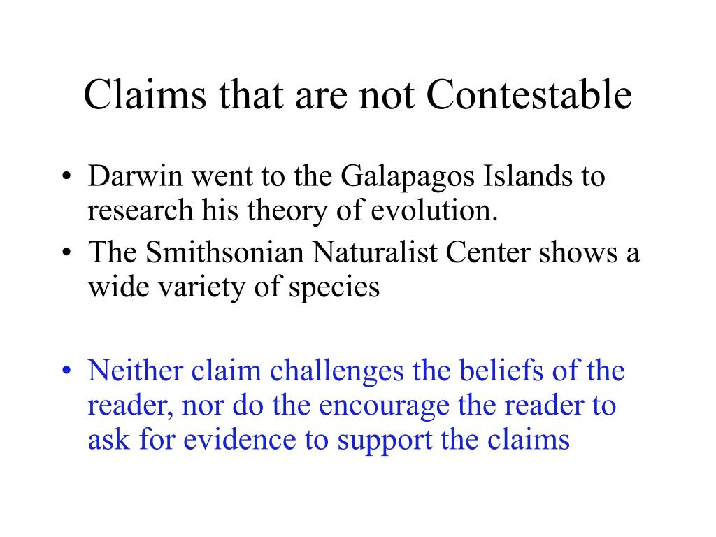 Claims that are not Contestable