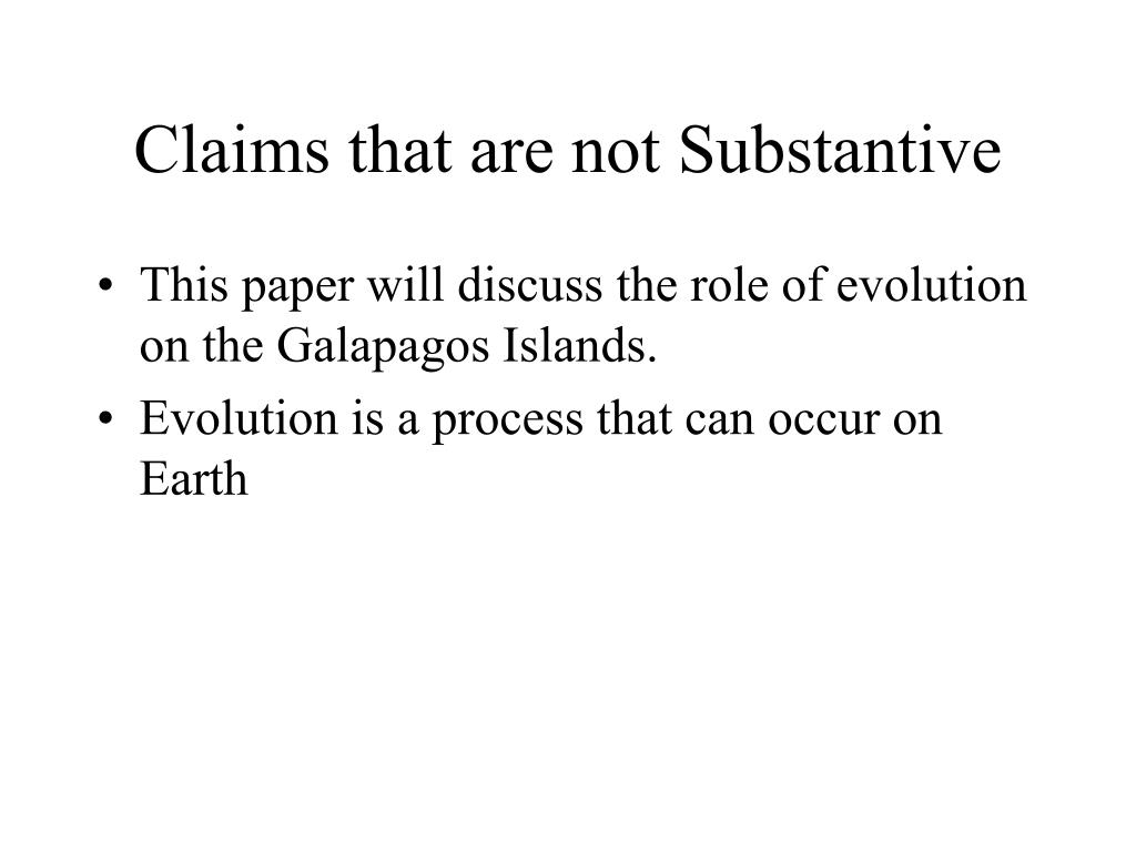 Claims that are not Substantive