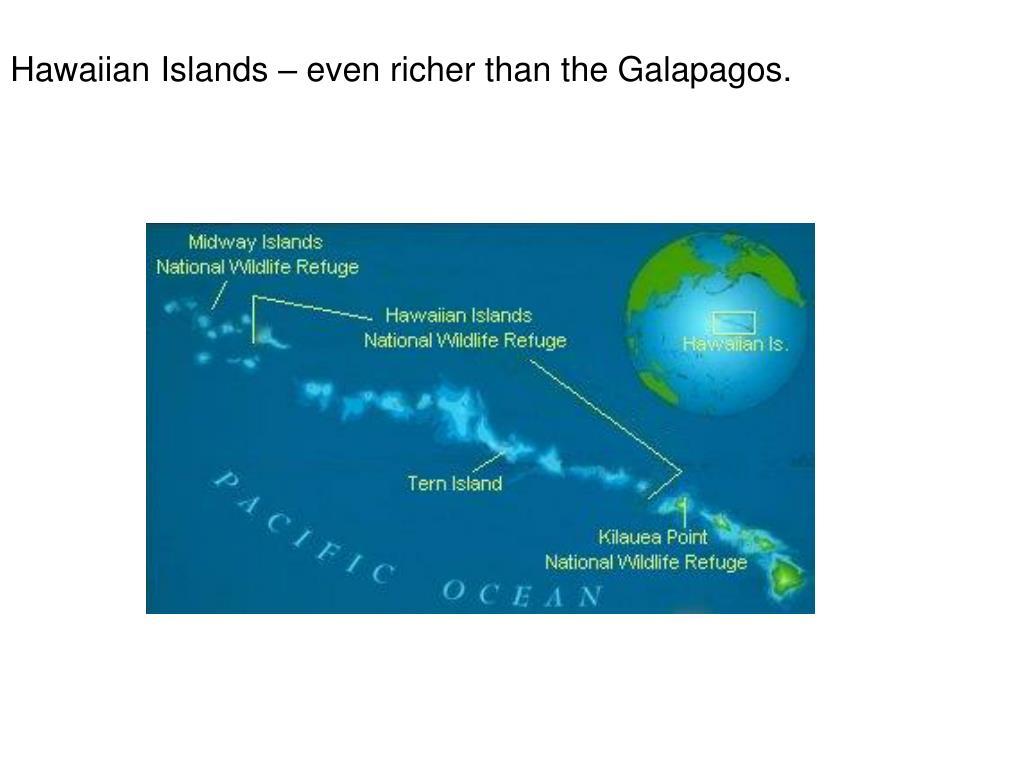 Hawaiian Islands – even richer than the Galapagos.
