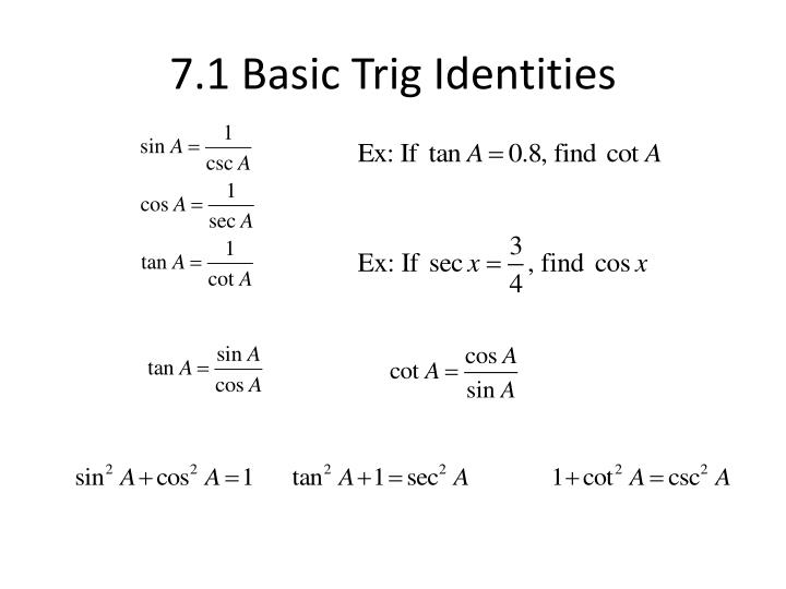 7.1 Basic Trig Identities