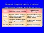 summary comparing business to business marketing and consumer marketing text table 9 2
