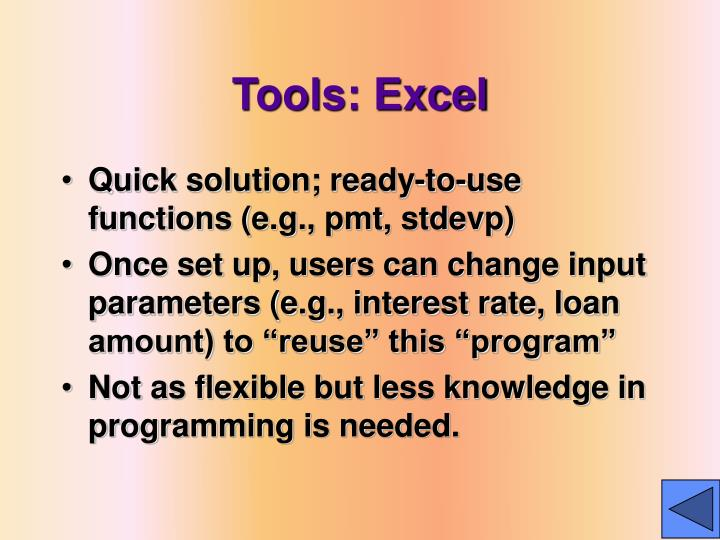Tools: Excel