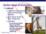 earlier ideas on evolution