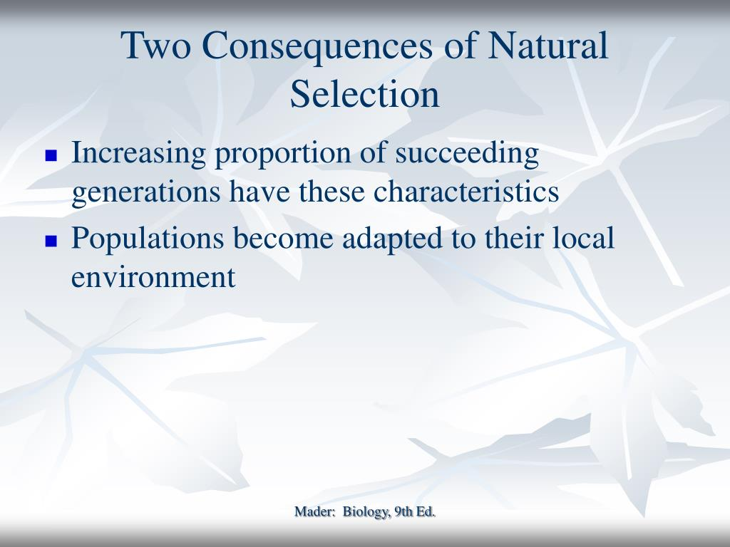 Two Consequences of Natural Selection