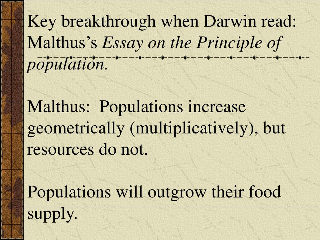 Key breakthrough when Darwin read: