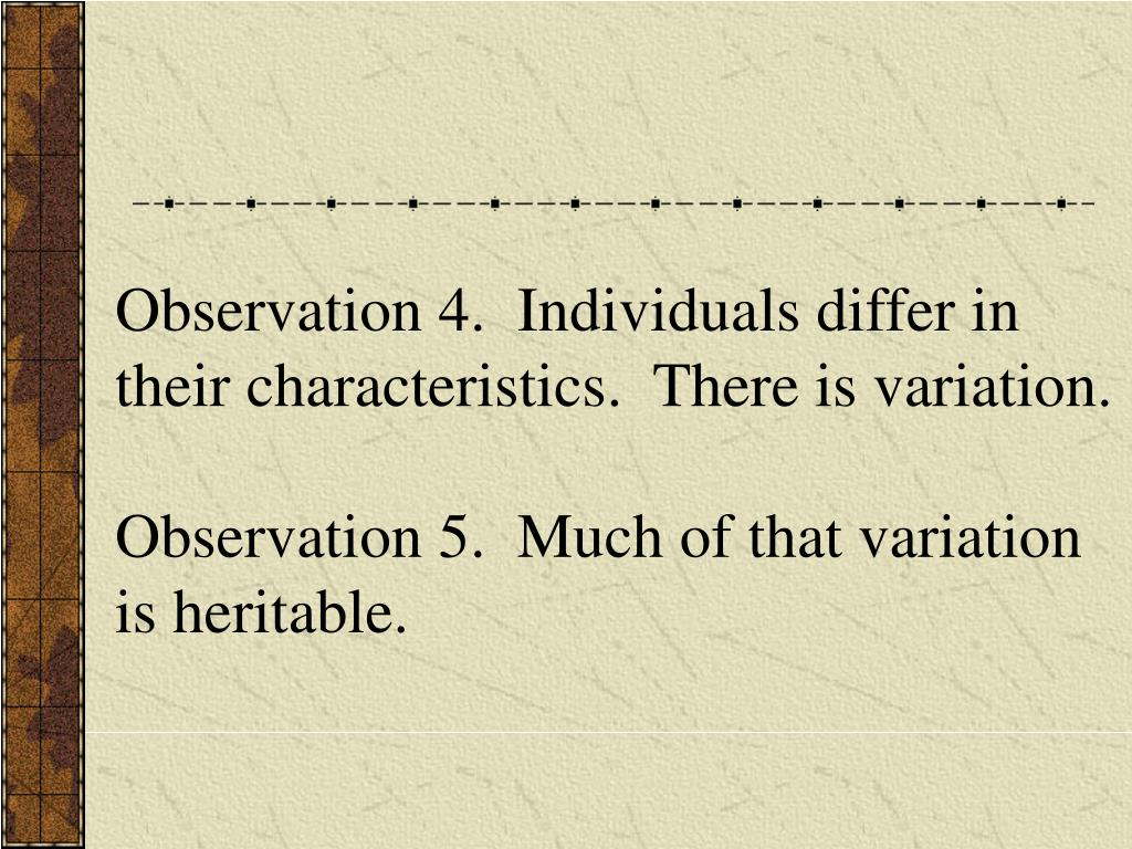 Observation 4.  Individuals differ in