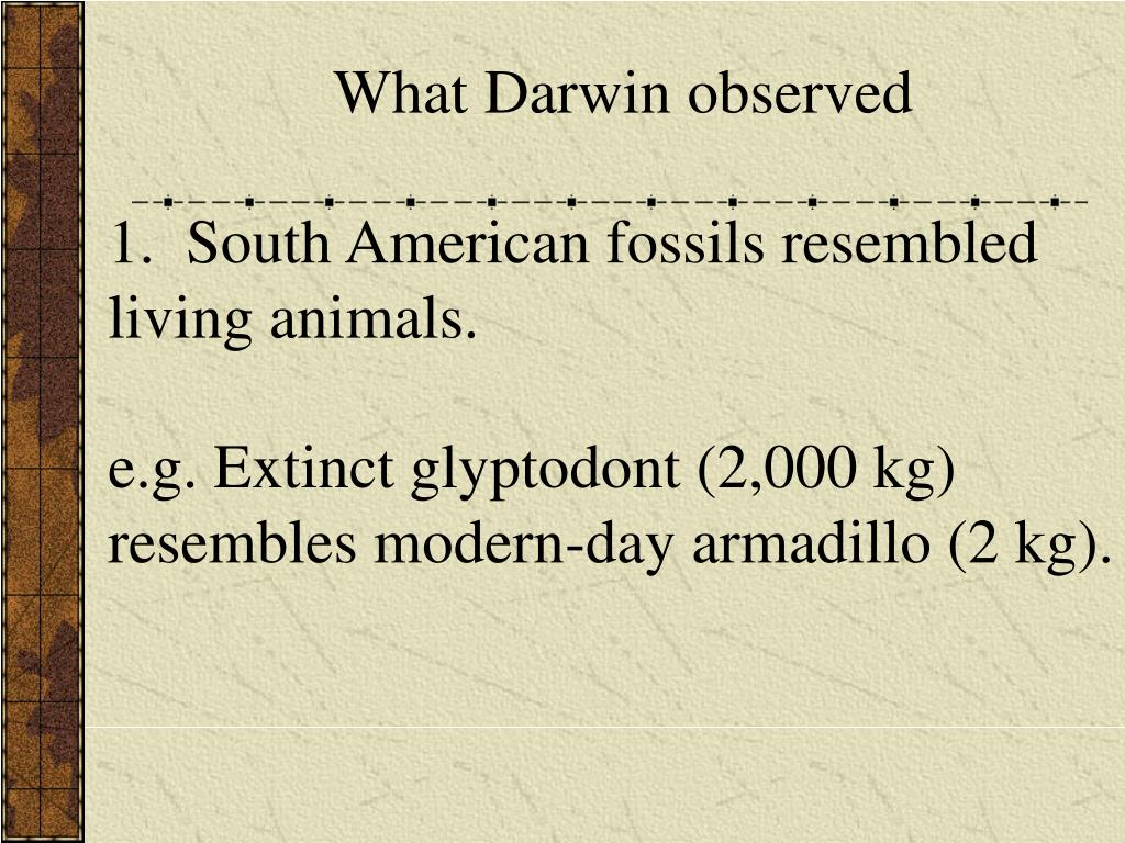 What Darwin observed