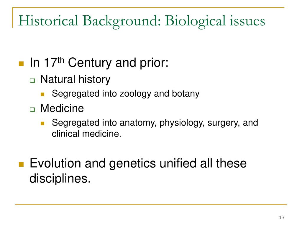 Historical Background: Biological issues