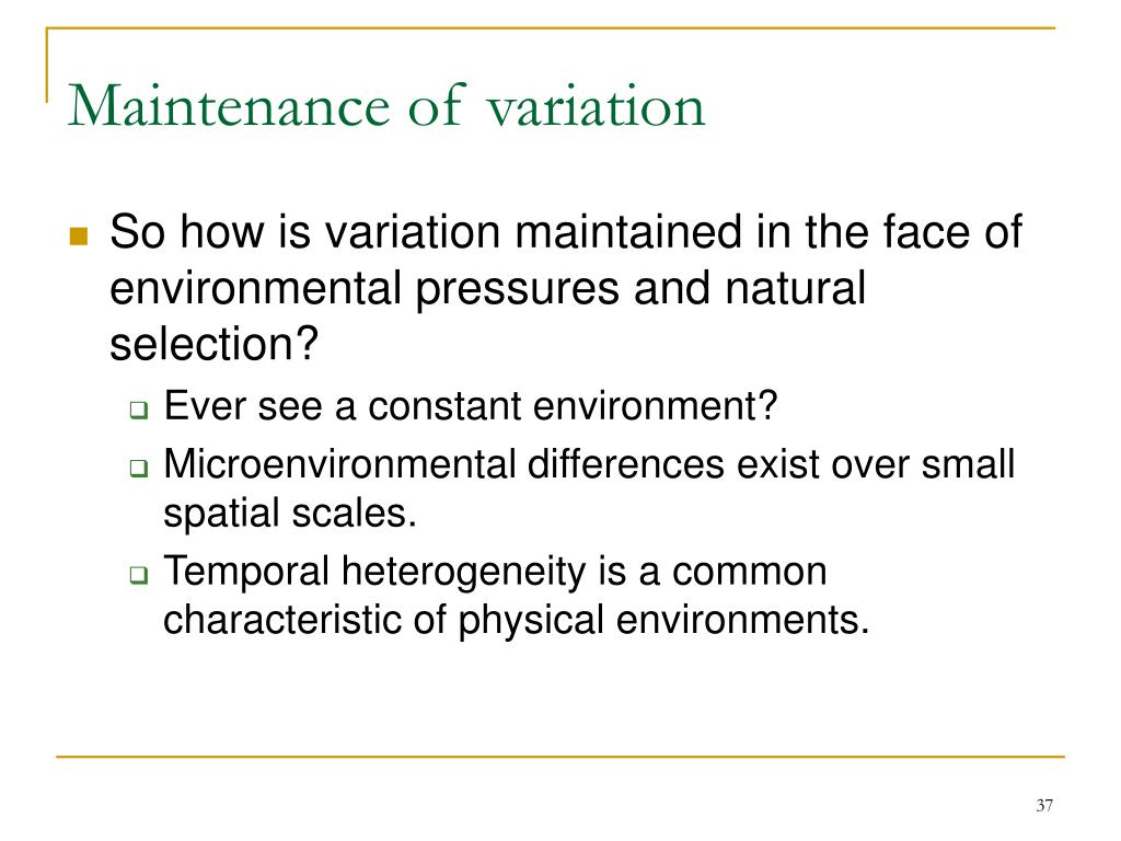 Maintenance of variation