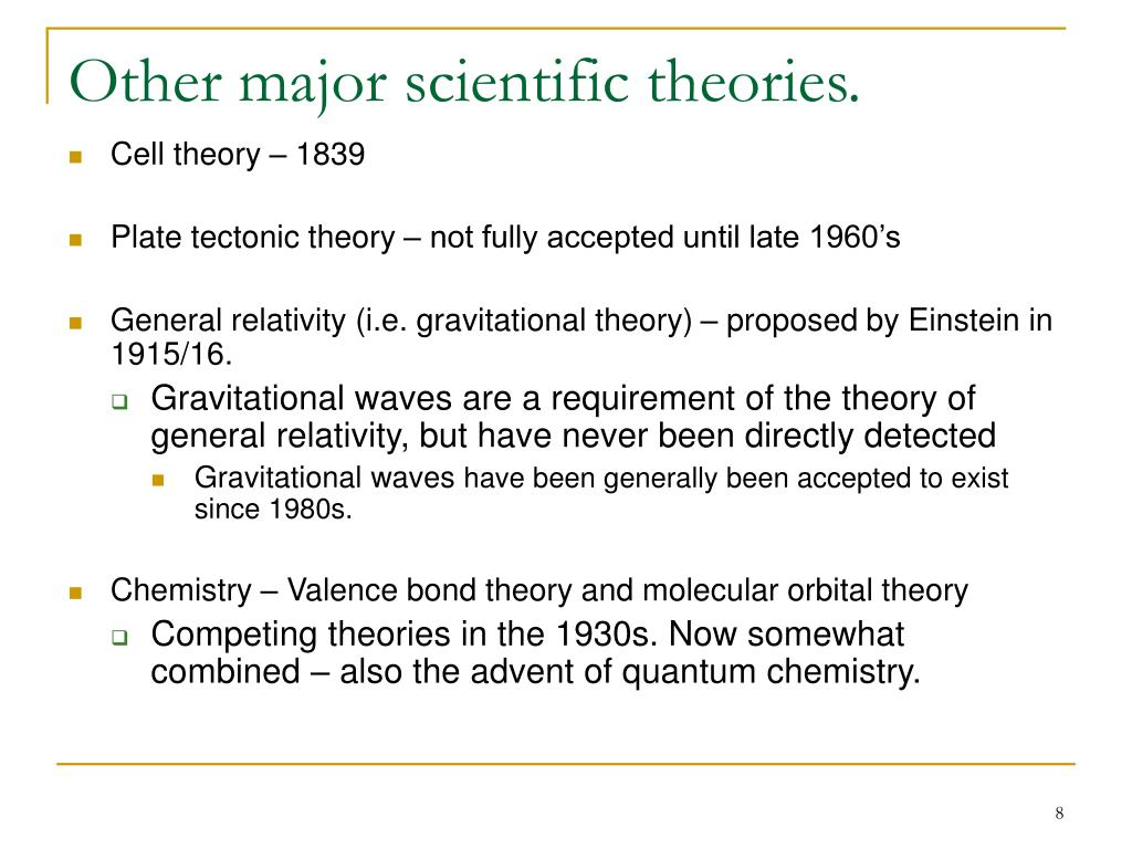 Other major scientific theories.