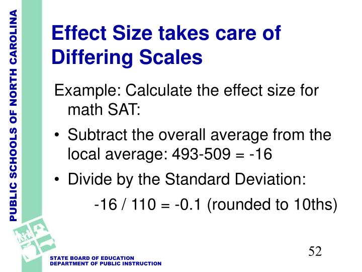 Effect Size takes care of Differing Scales