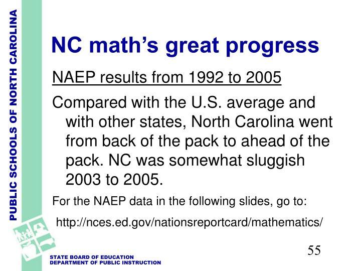 NC math's great progress