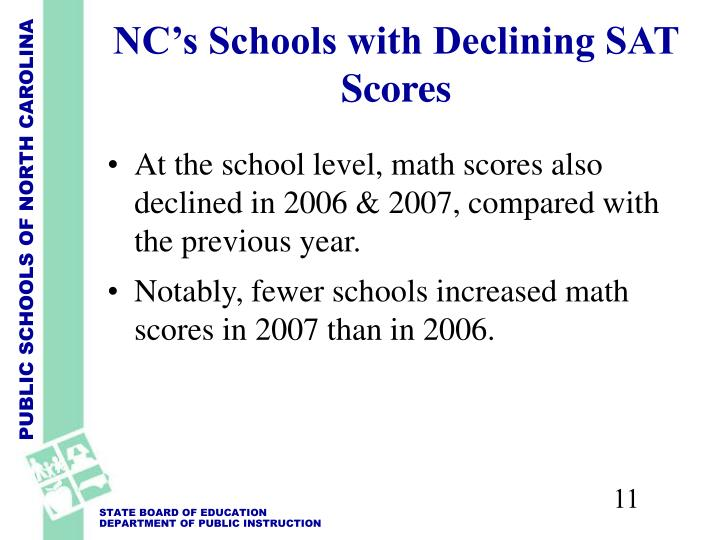 NC's Schools with Declining SAT Scores