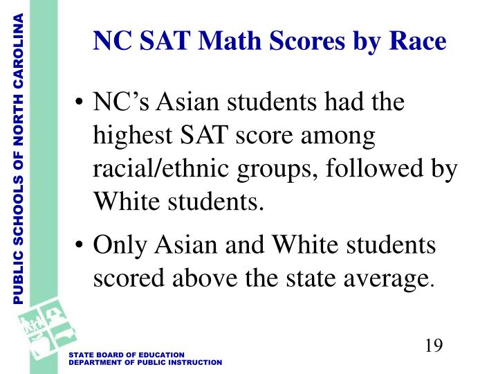 NC's Asian students had the highest SAT score among racial/ethnic groups, followed by White students.