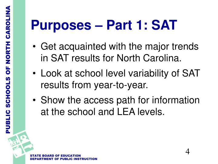 Purposes – Part 1: SAT