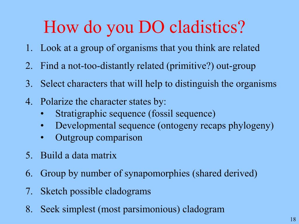 How do you DO cladistics?