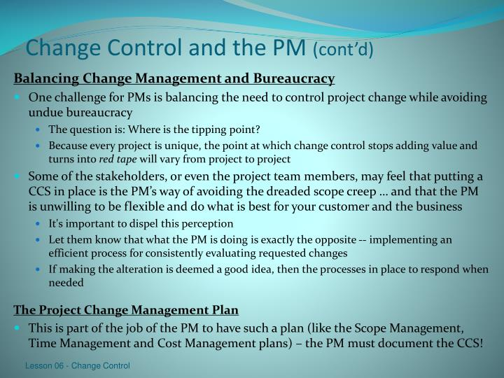 Change Control and the PM