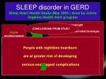 sleep disorder in gerd sleep heart health study may 2005 done by johns hopkins health alert program