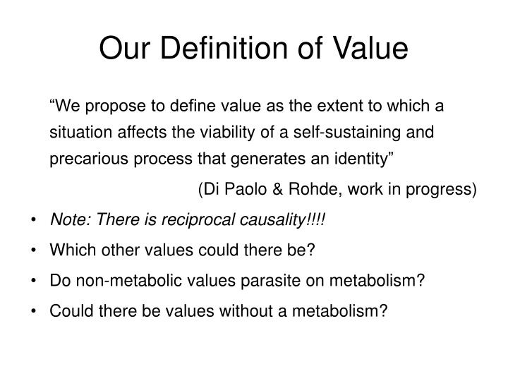 Our Definition of Value