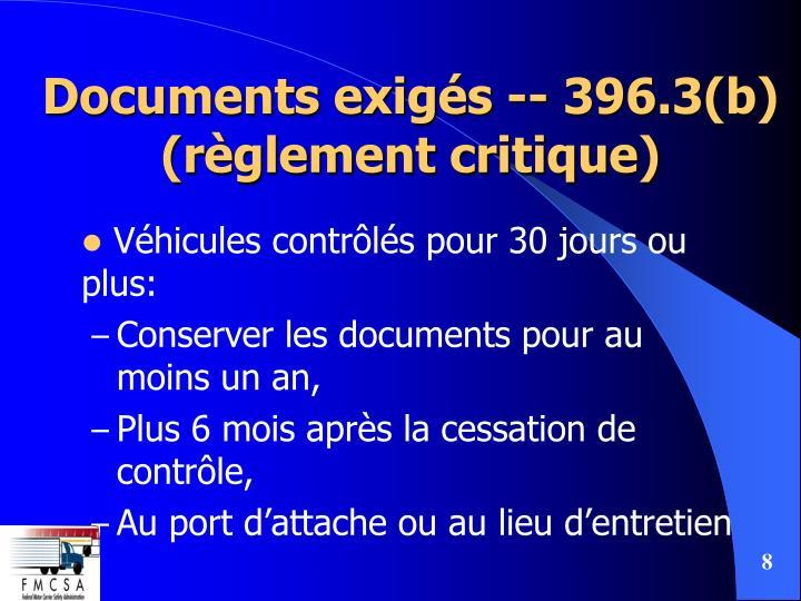 Documents exigés