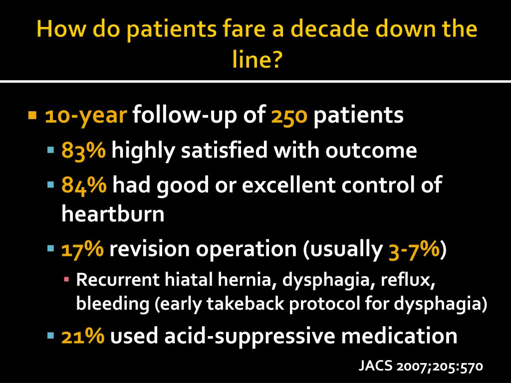 How do patients fare a decade down the line?