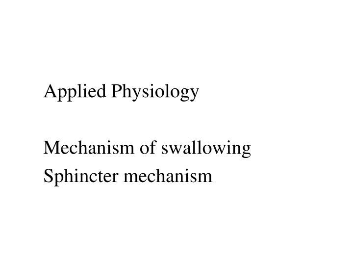 Applied Physiology