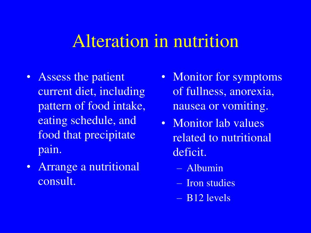 Assess the patient current diet, including pattern of food intake, eating schedule, and food that precipitate pain.