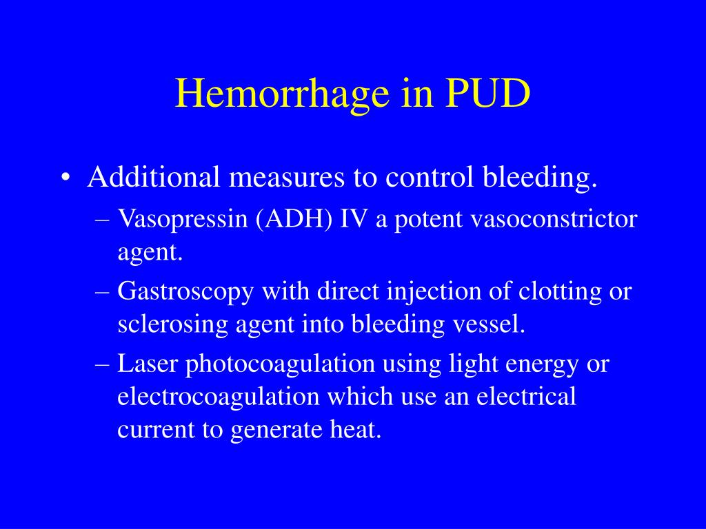 Hemorrhage in PUD