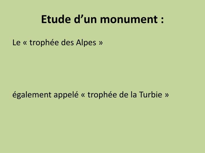 Etude d'un monument :