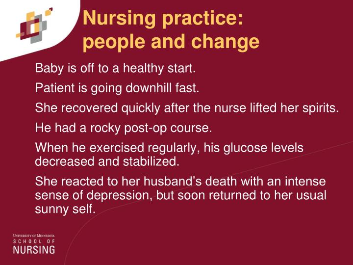 Nursing practice:      people and change