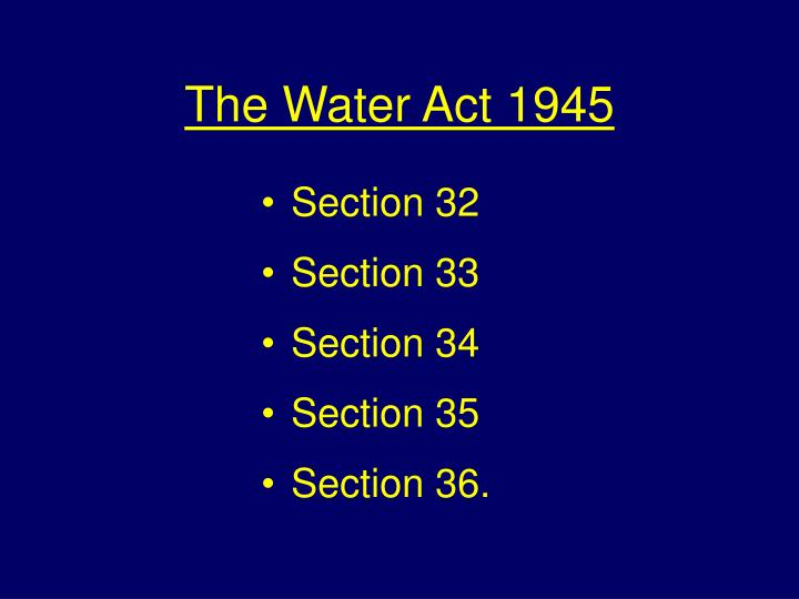 The Water Act 1945
