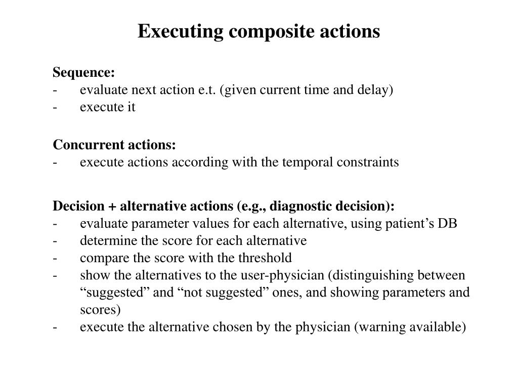 Executing composite actions