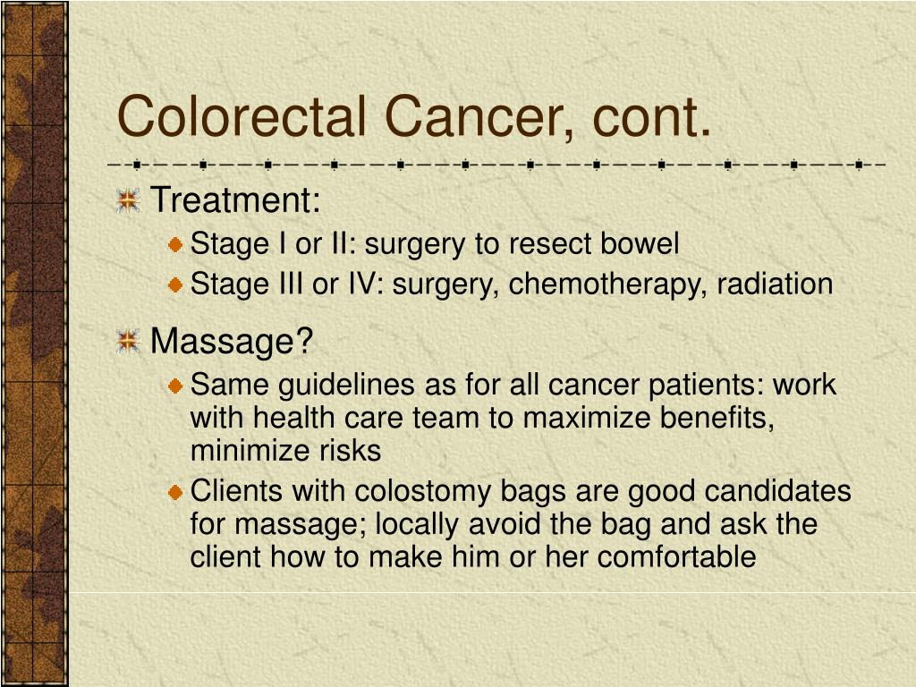 Colorectal Cancer, cont.