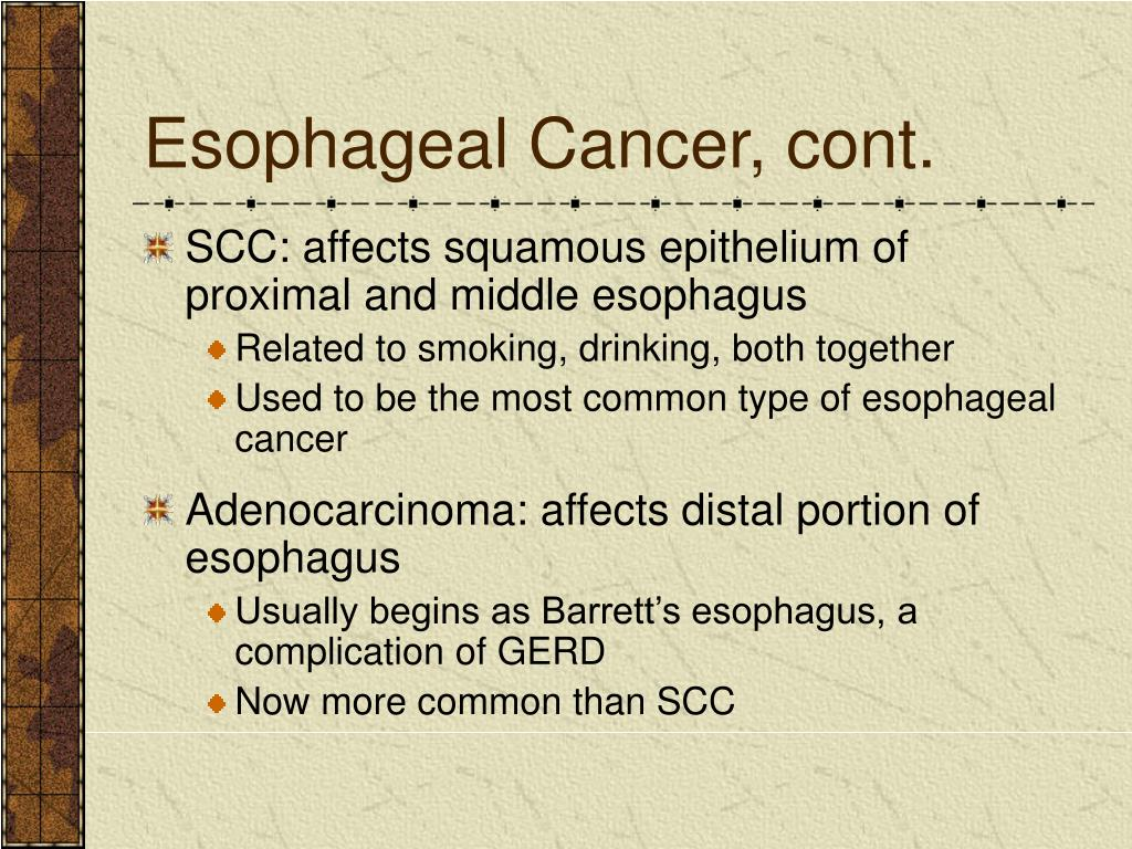Esophageal Cancer, cont.