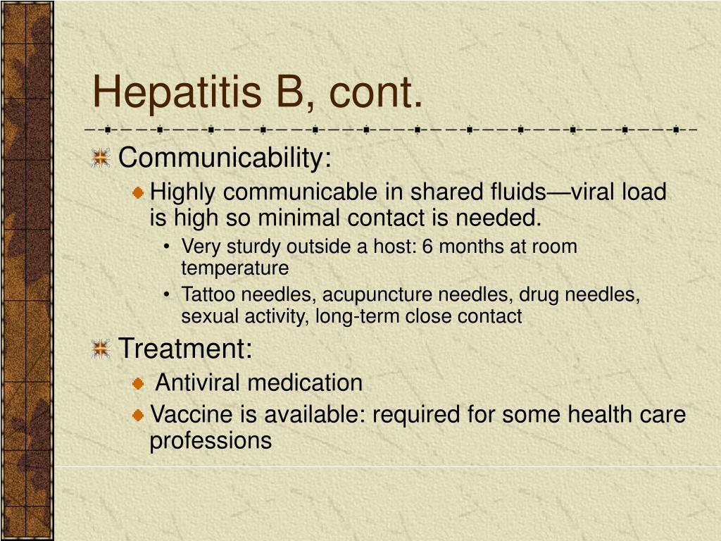 Hepatitis B, cont.