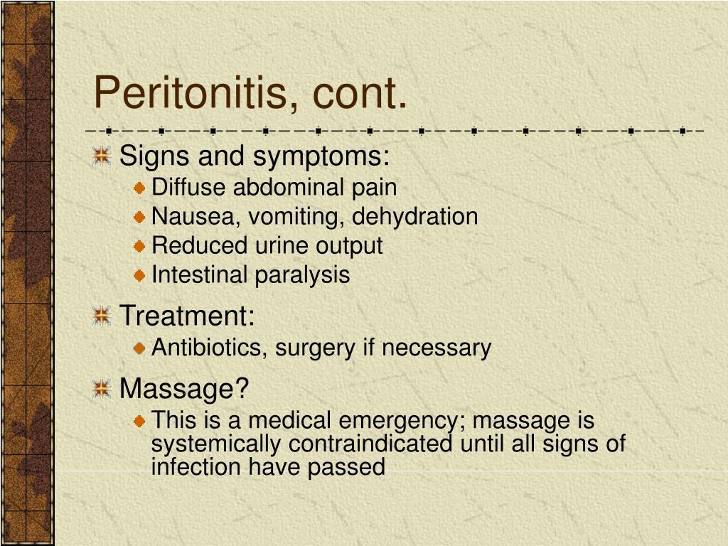 Peritonitis, cont.