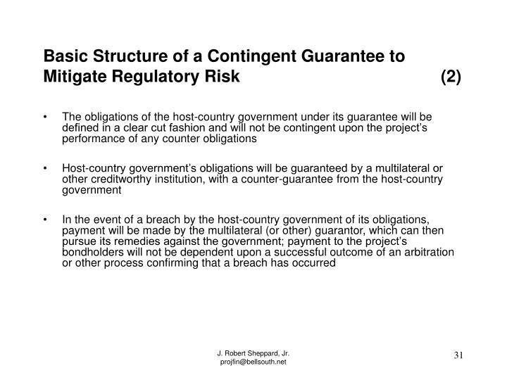 Basic Structure of a Contingent Guarantee to Mitigate Regulatory Risk                                           (2)