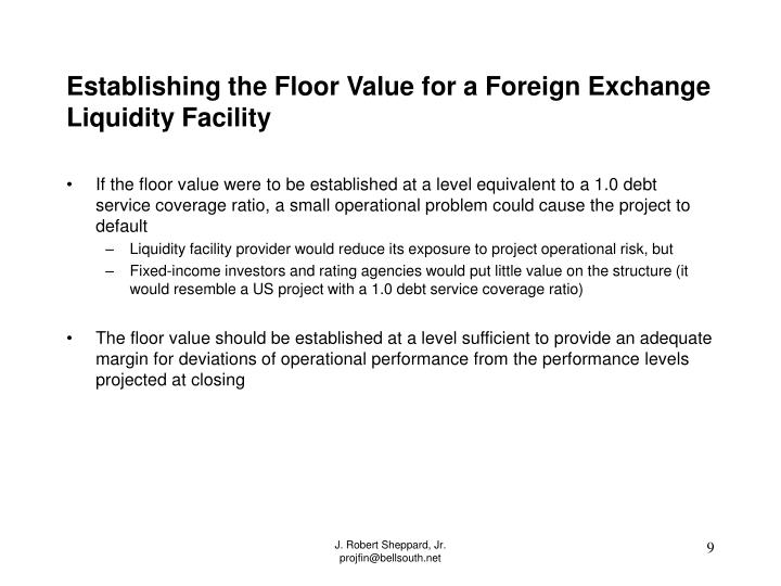 Establishing the Floor Value for a Foreign Exchange Liquidity Facility