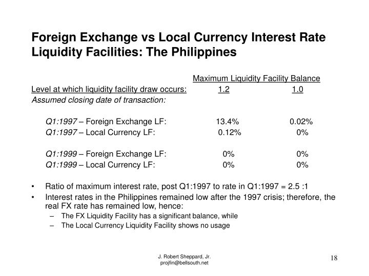 Foreign Exchange vs Local Currency Interest Rate Liquidity Facilities: The Philippines