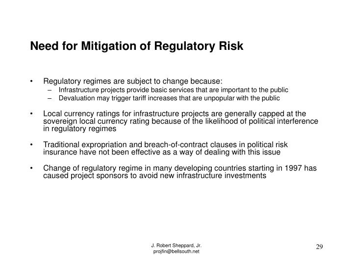 Need for Mitigation of Regulatory Risk