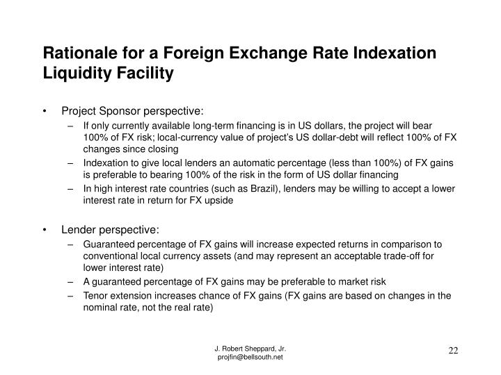 Rationale for a Foreign Exchange Rate Indexation Liquidity Facility
