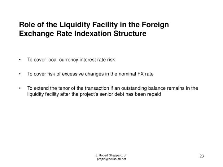Role of the Liquidity Facility in the Foreign Exchange Rate Indexation Structure