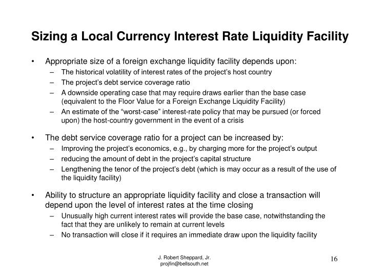 Sizing a Local Currency Interest Rate Liquidity Facility