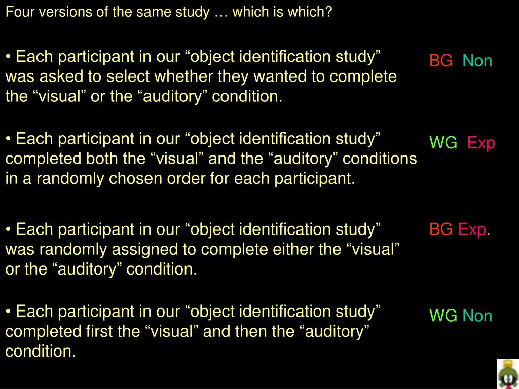 Four versions of the same study … which is which?
