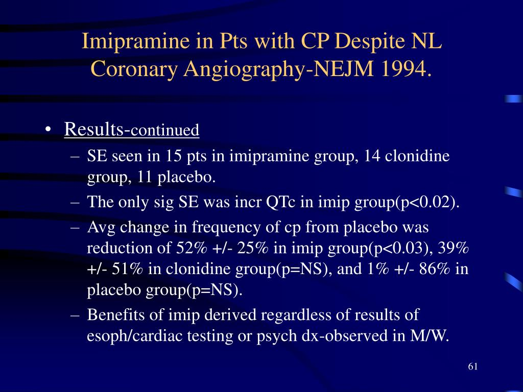Imipramine in Pts with CP Despite NL Coronary Angiography-NEJM 1994.
